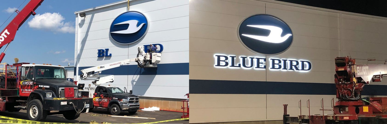 The Sign Stores Fleet of Cranes and trucks install the lighted blue bird sign to the building
